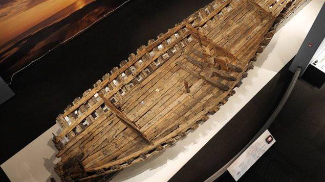 Des vestiges du navire La Belle exposés au musée d'État Bullock, au Texas.