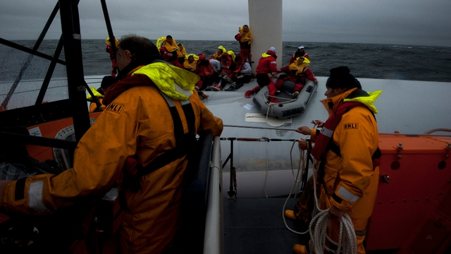 The Baltimore lifeboat during the rescue of crew from the yacht (pic: RNLI)