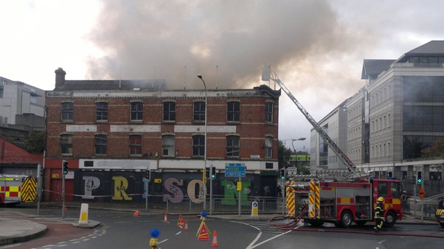 Smoke billows from the building near the Matt Talbot Bridge (Pic: Trevor Hunt)
