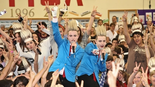 Jedward with their fans in Baku