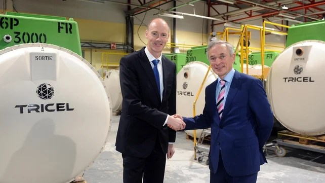 Tricel Managing Director Mike Stack with Richard Bruton this morning