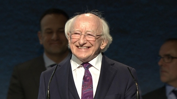 Michael D Higgins was elected yesterday for a second term as President of Ireland