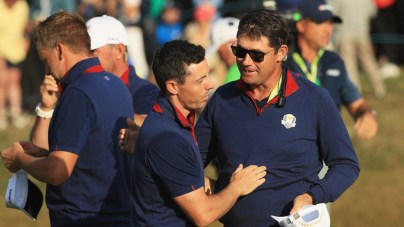 Padraig Harrington, pictured as a vice-captain, with Rory McIlroy at the 2018 Ryder Cup