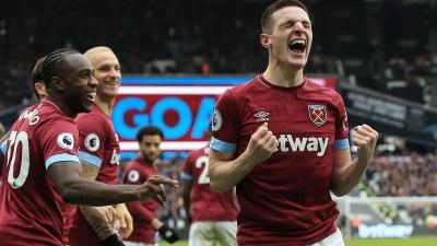 Declan Rice celebrates his clicnically taken goal against Arsenal