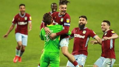 Jack Grealish celebrates with hero keeper Jed Steer as Aston Villa went through on penalties