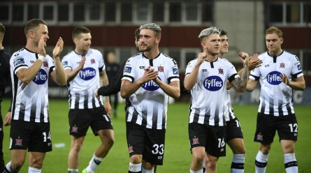 Dean Jarvis of Dundalk, centre, and team-mates celebrate