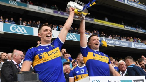 Brothers and All-Stars Ronan (L) and Padraic Maher lift the Liam MacCarthy Cup