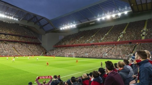 Proposed plans for an expanded Anfield Road End. Photo: LiverpoolFC.com