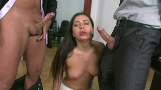 Ally Jones gives nice blowjob to her stepdad and his colleague porn image