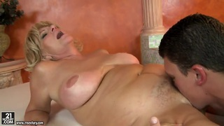 Mature lady is sucking dick feat. Sally G. porn image