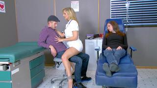 Horny nurse Julia Ann seducing Danny D while his girlfriend is dosing off porn image