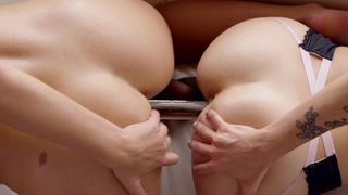 Karla Kush and Scarlet Red use their magic mouths and a double headed dildo to satisfy their cock... porn image