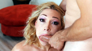 Lily LaBeau guzzling and drooling over the shaft porn image