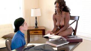 Teacher Daya Knight undresses in front of her pupil Juan porn image