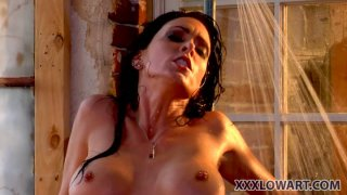 Nasty sluts Jessica Jaymes and Janine Janine get dirty in shower room porn image