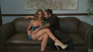 Gorgeous blonde bitch Kayla Paige picks up a guy in a bar and gets a great lube job porn image
