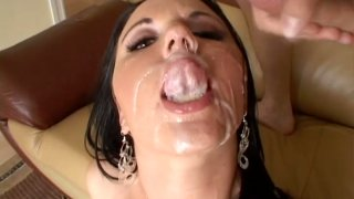 Cute brunette Lindsay Kay fills her mouth full with cum porn image