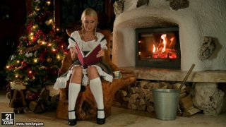 Horny blonde housewife Nikky Thorne dreams about cock for Christmas Eve porn image