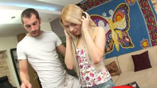 Shy teen chick Spice gets horny for young DJ and blows his cock porn image