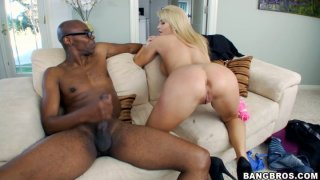 Massive black dick drills Jessica Nyx's horny cunt and covers her butt with white cream porn image