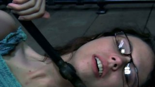 Nerdy four eyed teen Kristine Andrews in_her first BDSM_session porn image