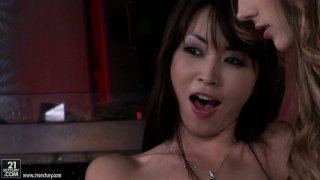 Backstage video with Tina Blade in threesome shows how professional POV vids are made porn image