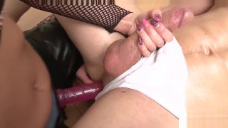 Young muscular guy pegged and dominated by hot blonde domina porn image