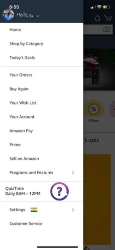 app menu amazon quiz iphone