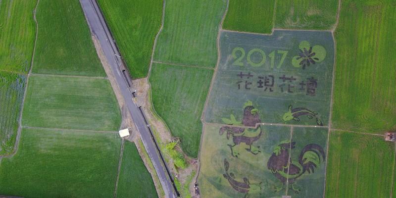彰化》親子好去處!2017年花壇彩繪稻田 - 三春老樹彩繪牆 - 竹筍節  空拍俯視彩繪模樣