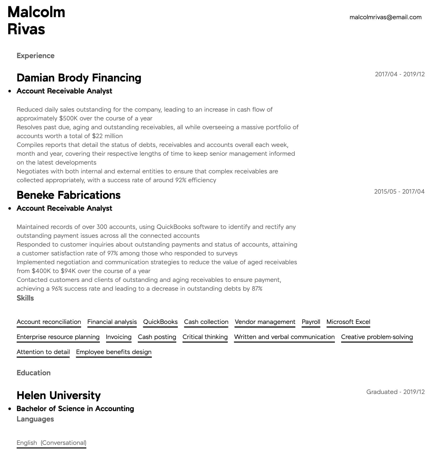These 5 financial analyst resume examples are proven to help you land your dream job in 2021. Account Receivable Analyst Resume Samples All Experience Levels Resume Com Resume Com