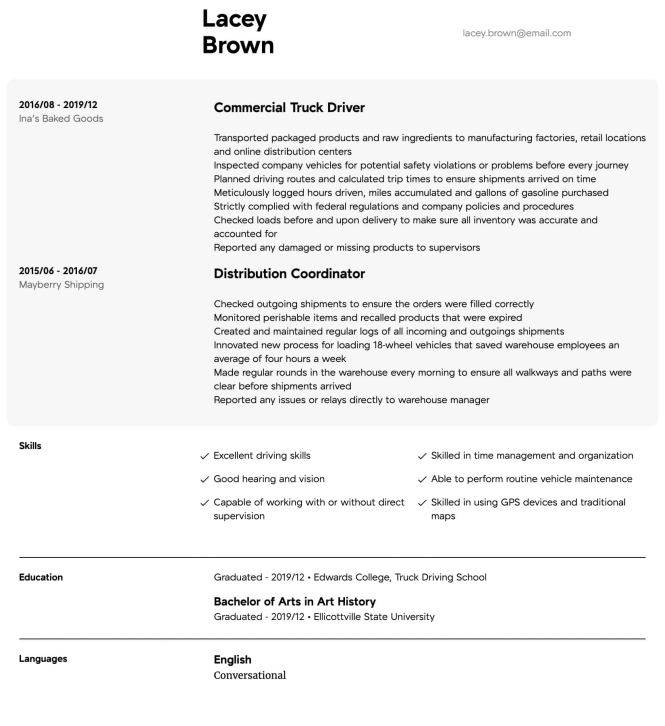 Truck Driver Resume Samples All