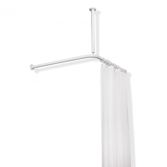 hewi series 801 shower curtain rail with ceiling support and shower curtain pure white