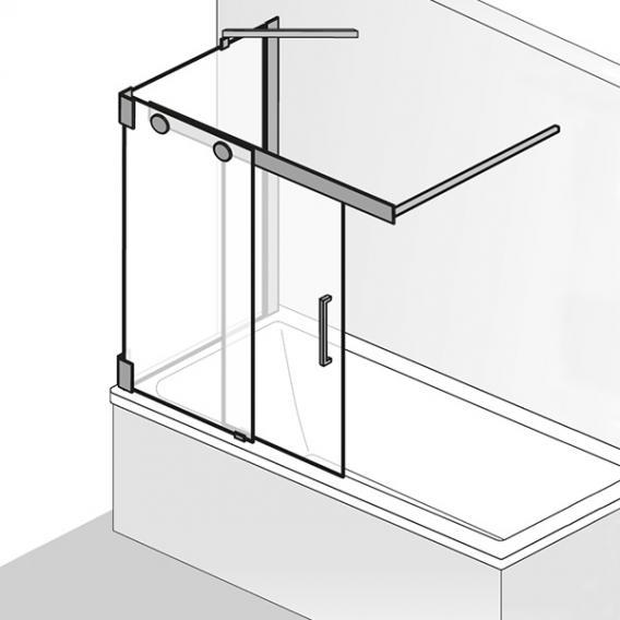 hsk k2p porte coulissante pour pare baignoire 2 elements avec paroi laterale verre trempe transparent clair aspect chrome