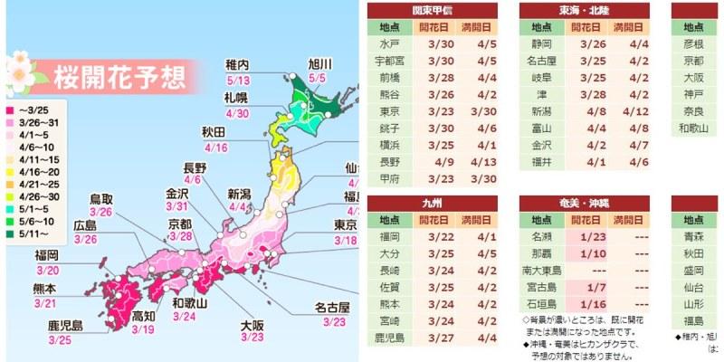 2019日本櫻花預測   東京大阪京都櫻花情報 日本櫻花開花、櫻花滿開前線情報!!
