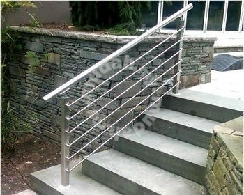 Stainless Steel Staircase Railing Outdoor W Design Home   Outdoor Steel Staircase Design   Wrought Iron   Light   Stainless Steel   Industrial   Wood