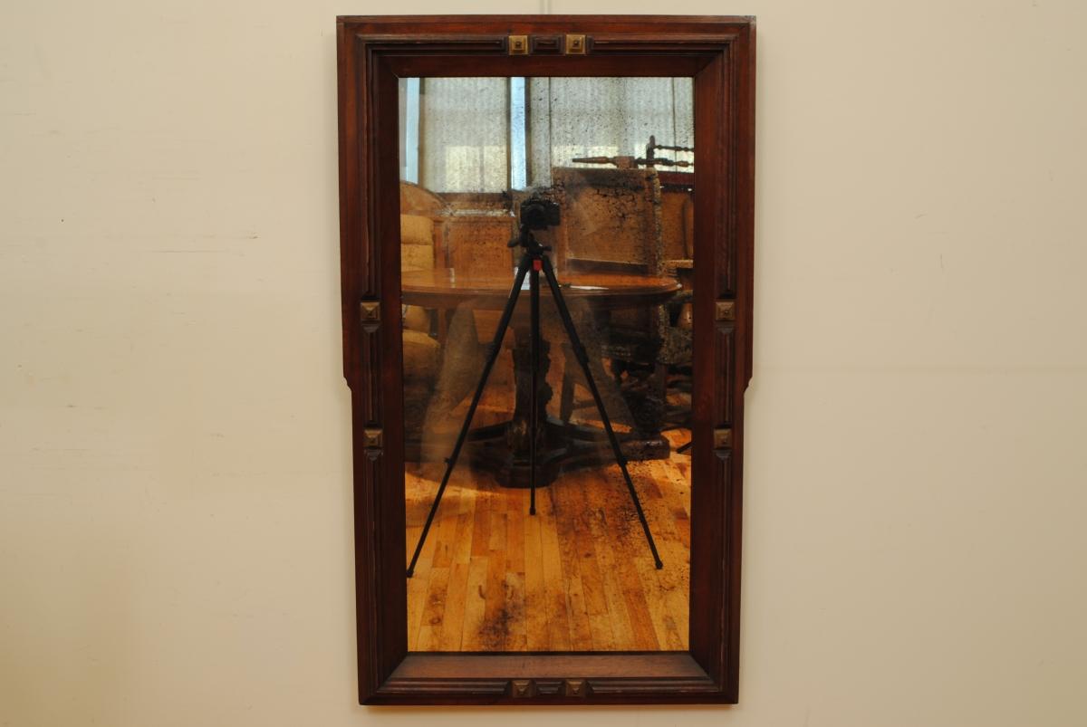 Bronze Mounted Walnut Wall Mirror / Robuck.co
