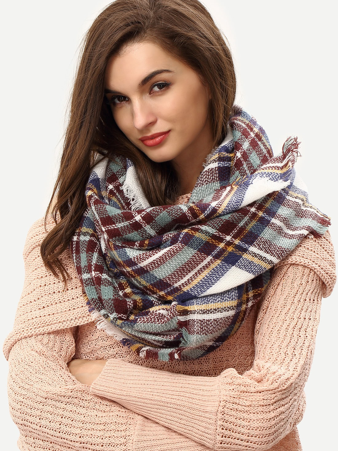 Plaid Frayed Beige Blue Scarf