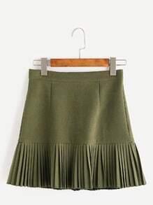 Falda plisada con cremallera - verde militar