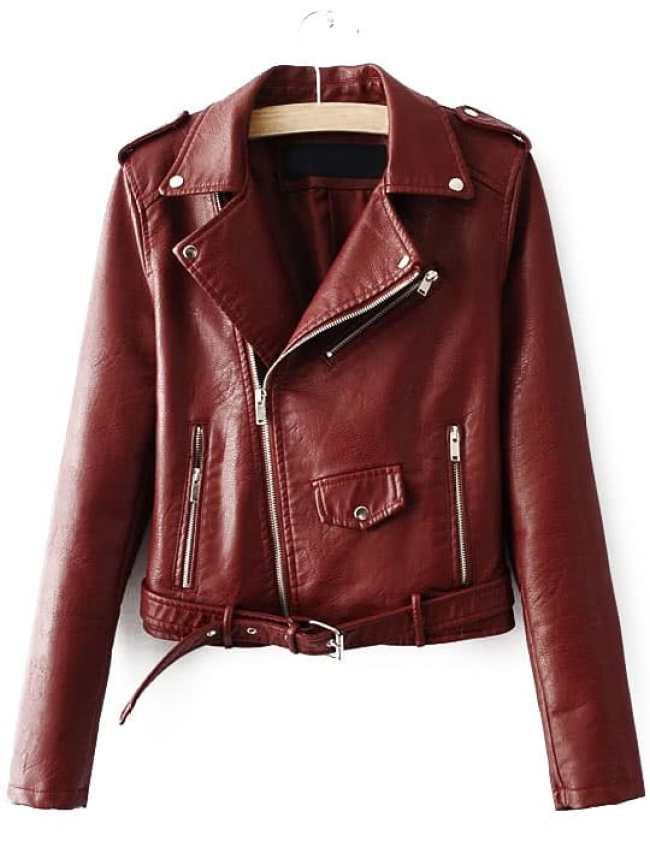 chaqueta biker burgundy
