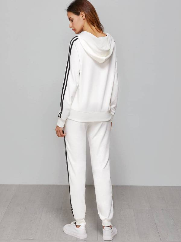 White Striped Sideseam Hooded Sweat SuitFor Women-romwe