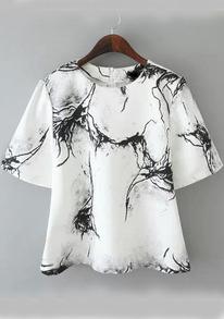 Ink Print Wide Sleeve White Shirt