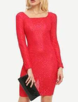 Square Neck Lace Red Pencil Dress