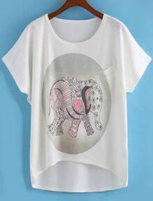 Dip Hem Elephant Print T-shirt