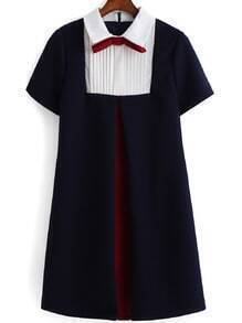 Contrast Collar With Bow Dress