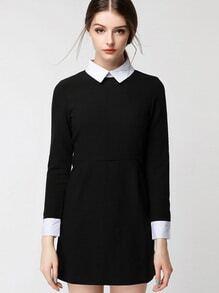 vestido camiseta cuello contraste cremallera