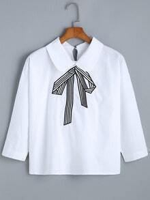 Doll Collar Bow Embroidered White Top