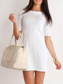 vestido manga media línea A-blanco