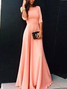 vestido maxi manga media-rosado
