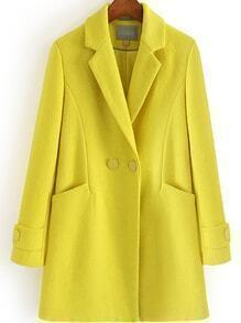Lapel Double Breasted Pockets Long Yellow Coat
