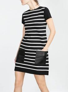 Black White Short Sleeve Striped Pockets Dress
